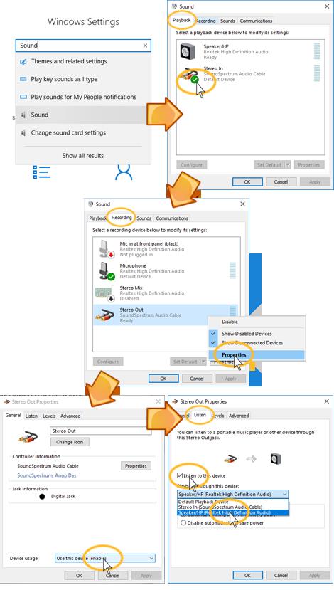soundspectrum audio cable windows help